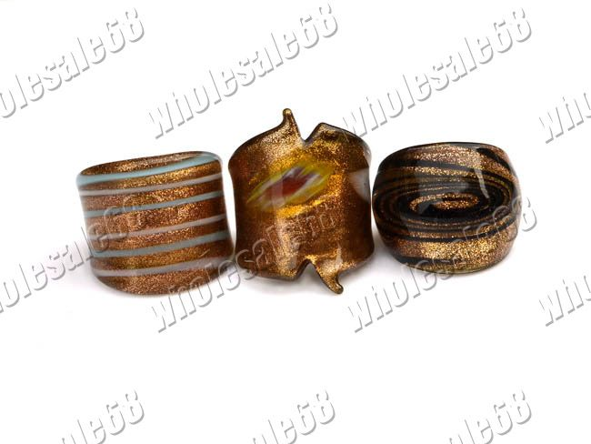 Wholesale lots 36pcs charming murano glass rings Free